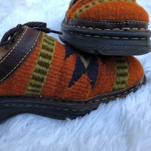Born Aztec print wool and leather mules